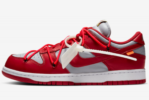 CT0856 600 Off White x Nike Dunk Low University Red Wolf Grey 2019 For Sale 300x201