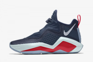 Custom Nike LeBron Soldier 14 Navy Blue White Red 2020 For Sale 300x200