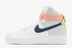 2020 Nike Wmns Air Force 1 High White Midnight Navy Light Orange 300x200
