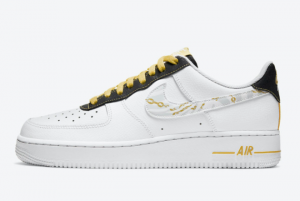 DH5284 100 Nike Air Force 1 Low Reflective Zebra Swooshes Gold Links 2020 For Sale 300x201
