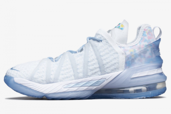 2021 Nike LeBron 18 NRG GS Blue Tint CW3156-400 Sport Shoes