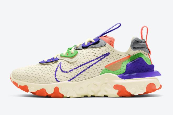 2021 Nike React Vision Beige/Green-Purple-Coral CI7523-104