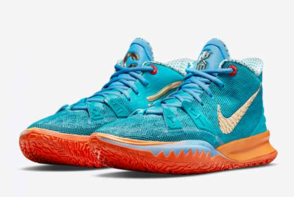 Concepts x Nike Kyrie 7 Teal Blue/Orange-Metallic Gold CT1137-900 For Sale Online-3