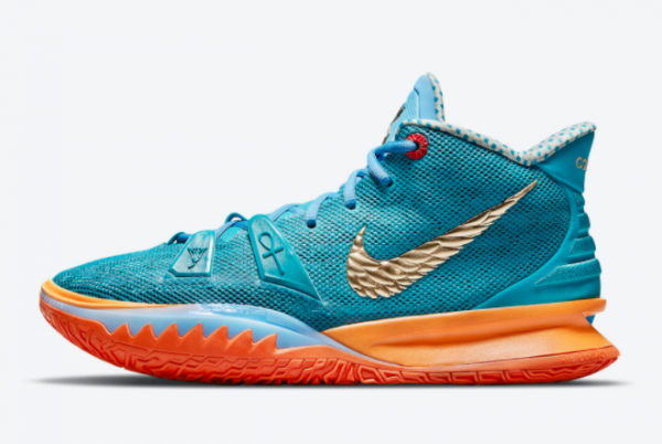 Concepts x Nike Kyrie 7 Teal Blue/Orange-Metallic Gold CT1137-900 For Sale Online