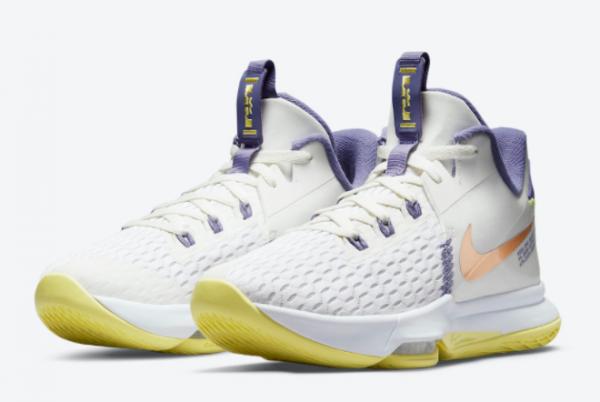 Hot Sale Nike LeBron Witness 5 Pastel Lakers CQ9381-102-1