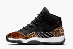 2021 New Release Air Jordan 11 Animal Black/Red-Sail-White