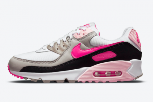 Nike Wmns Air Max 90 White/Pink-Grey-Black DM3051-100 For Sale Online