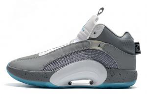 2021 Air Jordan 35 Wolf Grey/White-Blue Shoes For Men