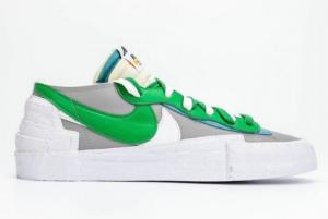 2021 Fashion Sacai x Nike Blazer Low Medium Grey/Classic Green-White DD1877-001