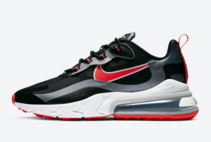 2021 Nike Air Max 270 React Black Silver Red White CT1646-001 Running Shoes