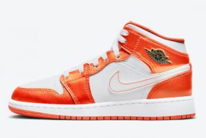 Air Jordan 1 Mid GS White Orange DM4228-800 Sneakers On Sale