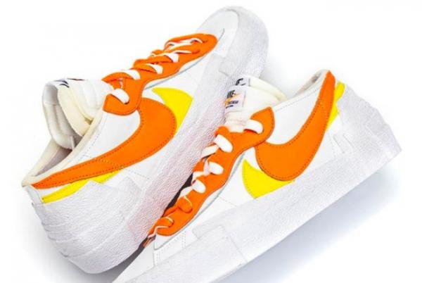 Fashion Sacai x Nike Blazer Low White/Magma Orange DD1877-100 Shoes-2