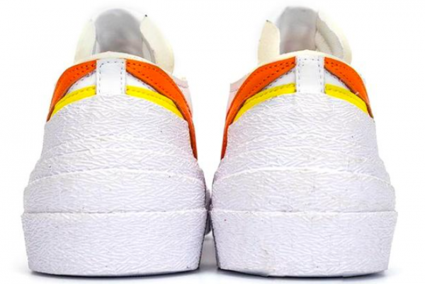 Fashion Sacai x Nike Blazer Low White/Magma Orange DD1877-100 Shoes-4