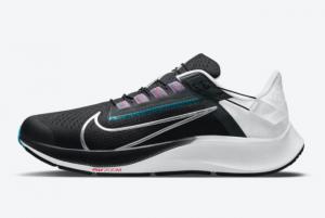 New Nike Air Zoom Pegasus 38 FlyEase Black/White-Chlorine Blue-Metallic Silver Released DA6674-002