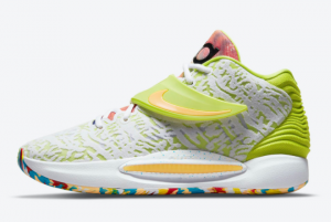 New Nike KD 14 White/Lime Green-Multi-Color CZ0170-101 For Sale Online