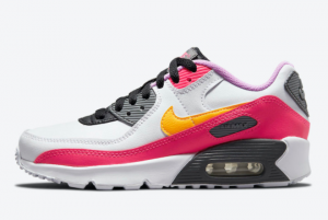 Nike Air Max 90 GS White Pink Yellow Purple DM8685-100 Women's Sport Shoes