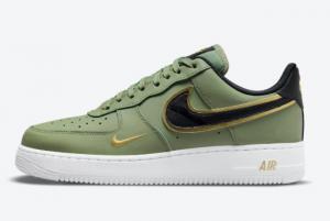2021 Cheap Nike Air Force 1 Low Green Gold Swoosh DA8481-300
