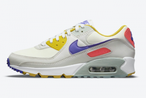 2021 Nike Air Max 90 White Yellow-Purple-Pink DA8726-100 Sneakers For Sale