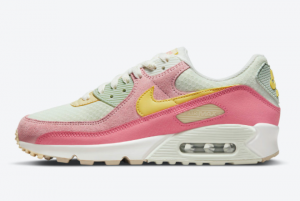 Ladies Nike Air Max 90 Light Bone Pink Yellow White 2021 For Sale DM9465-001