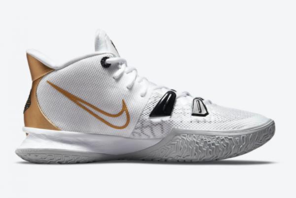 New Nike Kyrie 7 White/Black-Metallic Gold 2021 For Sale CQ9326-101-1
