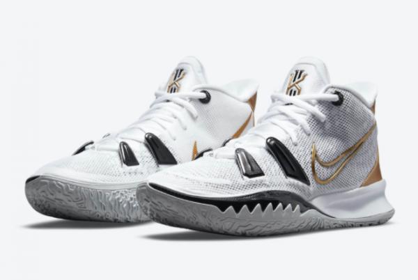 New Nike Kyrie 7 White/Black-Metallic Gold 2021 For Sale CQ9326-101-2