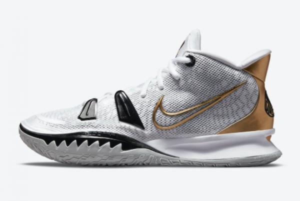 New Nike Kyrie 7 White/Black-Metallic Gold 2021 For Sale CQ9326-101