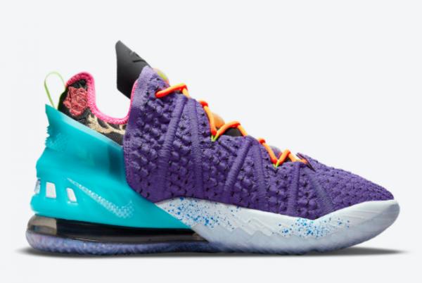 New Nike LeBron 18 Psychic Purple/Black/Multi-Color 2021 For Sale DM2813-500-1