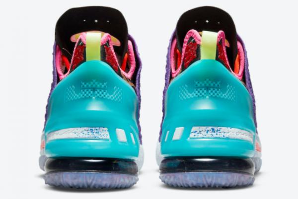 New Nike LeBron 18 Psychic Purple/Black/Multi-Color 2021 For Sale DM2813-500-3