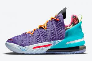 New Nike LeBron 18 Psychic Purple/Black/Multi-Color 2021 For Sale DM2813-500