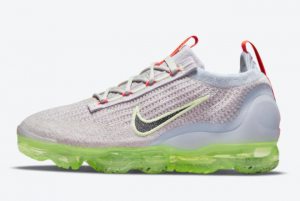 New Nike Vapormax Flyknit 2021 Grey Neon For Sale DC4112-003