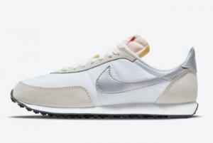 New Nike Waffle Trainer 2 White/Metallic Silver 2021 For Sale DA8291-101