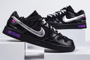 New Off-White x Nike Dunk Low The 50 Black/Silver 2021 For Sale DM1602-001
