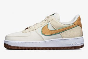 Cheap Nike Air Force 1 Low Happy Pineapple Coconut Milk Metallic Gold-Green Glow 2021 For Sale CZ1631-100