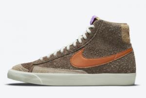 Cheap Nike Blazer Mid Shaggy Suede Brown Tan-Purple 2021 For Sale DM7581-200
