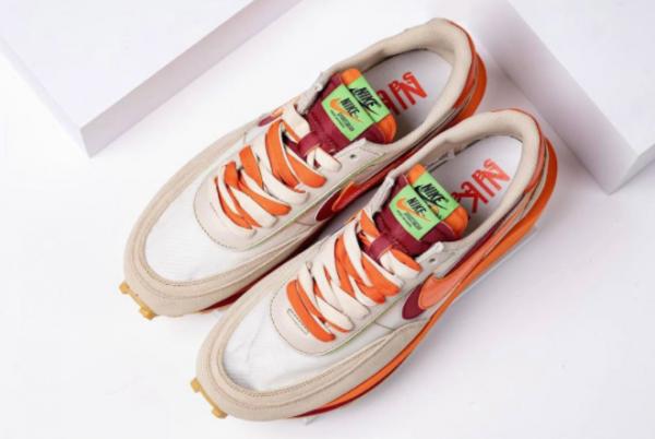 Latest Clot x Sacai x Nike LDWaffle Net Orange Blaze-Deep Red-Green Bean 2021 For Sale DH1347-100-1