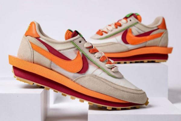Latest Clot x Sacai x Nike LDWaffle Net Orange Blaze-Deep Red-Green Bean 2021 For Sale DH1347-100-2