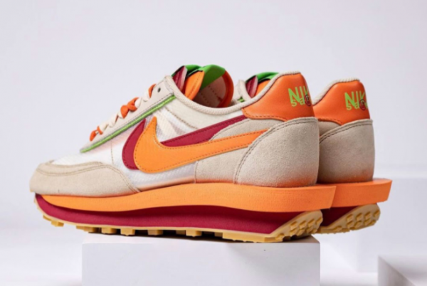 Latest Clot x Sacai x Nike LDWaffle Net Orange Blaze-Deep Red-Green Bean 2021 For Sale DH1347-100-3