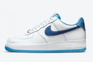 Latest Nike Air Force 1 Low Pristine Use White Dark Blue-Light Blue 2021 For Sale DA8478-100