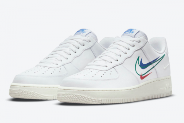 New Nike Air Force 1 Low Multi Swoosh White 2021 For Sale DM9096-101 -1