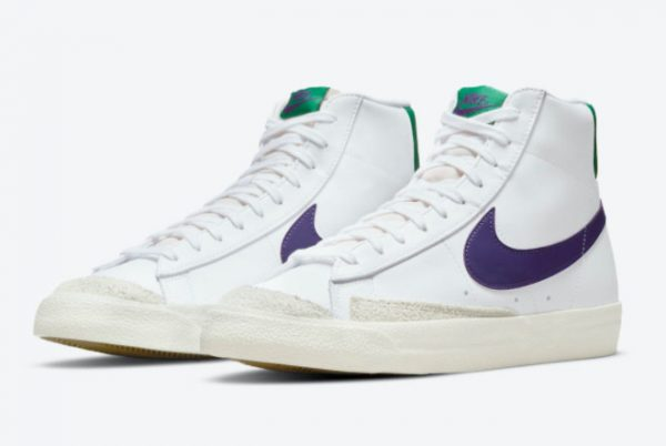 New Nike Blazer Mid 77 White Green Purple 2021 For Sale DO1157-100-1