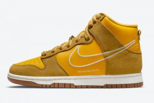 New Nike Dunk High First Use University Gold White-Light Gum Brown 2021 For Sale DH6758-700