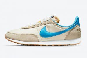 New Nike Waffle Trainer 2 Shoe Dog Pearl White/Laser Blue-Green-Campfire Orange 2021 For Sale DA2315-200