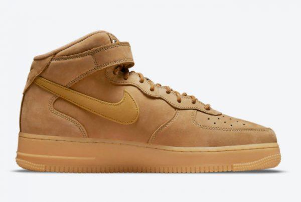 Cheap Nike Air Force 1 Mid Wheat Flax Flax-Gum Light Brown-Outdoor Green 2021 For Sale DJ9158-200-1