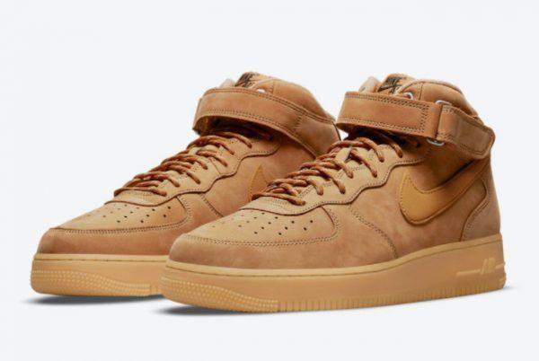 Cheap Nike Air Force 1 Mid Wheat Flax Flax-Gum Light Brown-Outdoor Green 2021 For Sale DJ9158-200-2