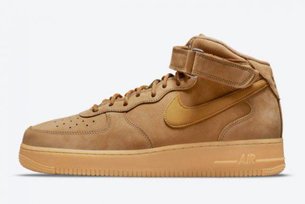 Cheap Nike Air Force 1 Mid Wheat Flax Flax-Gum Light Brown-Outdoor Green 2021 For Sale DJ9158-200