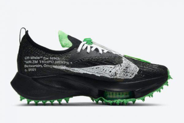 Cheap Off-White x Nike Air Zoom Tempo NEXT% Black White-Scream Green 2021 For Sale CV0697-001-1