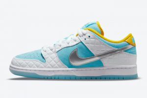 Latest FTC x Nike SB Dunk Low White Lagoon Pulse-Metallic Silver-Speed Yellow 2021 For Sale DH7687-400
