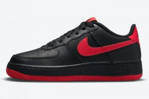 Latest Nike Air Force 1 GS Bred Black/Black/University Red 2021 For Sale DH9812-001