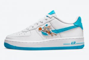 Latest Nike Air Force 1 Low Space Jam White Light Blue Fury-White 2021 For Sale DJ7998-100