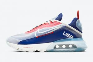 Latest Nike Air Max 2090 USA Sail Chile Red-Deep Royal Blue 2021 For Sale CT2010-100